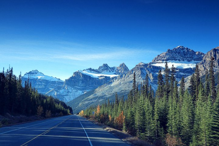 Bergspitzen ueber dem Icefields Parkway